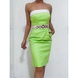 NWT ANTONIO MELANI green 50s style strapless dress